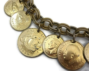 Coin Charm Bracelet - Gold Bracelet 1950s