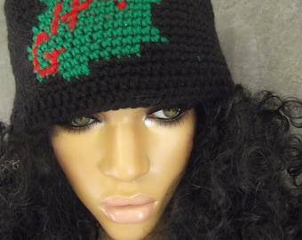 Crochet,Skull Cap,Accessory,Unisex,Winter Hat,Black,Ghana,Green,Women,Men,ooak,Large,