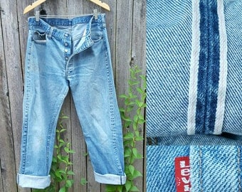 "Vintage Levi's 501 Jeans // Vtg 70s 80s Selvage Black Bar Distressed Faded Indigo Denim Jeans  //  35"" waist"