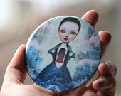 ON SALE Interior Castle art mirror  - pocket mirror, inner strength , bright blue, goddess, castle - by Meluseena