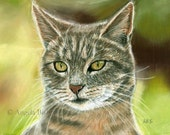 Tabby Cat Painting Print, Bird Watching, Cat Print, Art Print, Cat, Pet, Portrait, 8 x 10, Realism, Giclee, Pastel, Painting, Fine Art