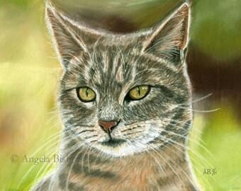 Tabby Cat Painting Print, Bird Watching, Cat Print, Art Print, Cat, Pet, Portrait, 8 x 10, Realism, Giclee, Pastel, Painting, Fine Art