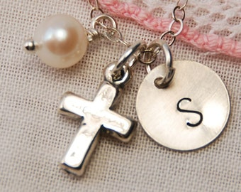 Cross, Initial Charm, Flower Girl Necklace, Personalized First Communion Gift, Girl Gift Necklace, Child, Personalized Tiny Faith Necklace