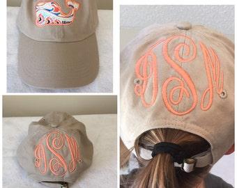 Monogrammed preppy whale cap