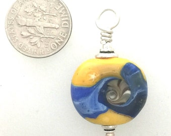 Small Yellow Lamp Work Glass Bead Pendant Signed by Artist by Kate Drew-Wilkinson
