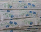 Italy 2 Yards Vintage Cotton Edging Embroidered Folkloric Fabric Sewing Trim Flowers  IT 28