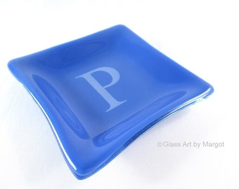 Blue Monogramed Small 4 Inch Square Monogramed Plate Fused Glass Trinket Ring Dish Graduation Teacher Gift