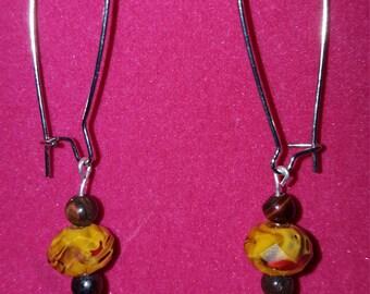 The Jillian Glass Bead Dangle Earrings in Tiger Handmade Glass Beaded Earrings Gorgeous Swirly Orange