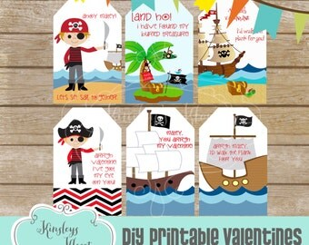 Pirate Valentine Tag Printable Valentine Tag Digital File DIY Valentine tags