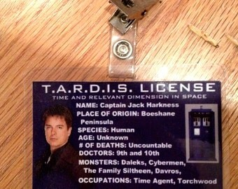 captain jack harkness TARDIS license ID badge Doctor Who