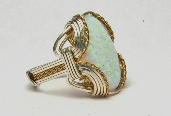 Opal Cabochon Ring Wire Wrapped Ring 14kt Yellow Gold Filled & Sterling Silver Handmade Synthetic Opal Cabochon Ring