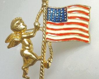 Vintage  Enamel US Flag With Cherub Brooch