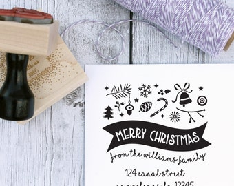 Custom Holiday Stamp - Merry Christmas Banner, Christmas Stamp, Address Stamp, Wooden Stamp, Rubber Stamp, Self Inking Stamp