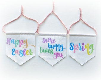 Easter Spring Mini Pennant Flag Decorations - Pastel or Monochrome