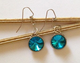 Round Blue Glass Drop Earrings