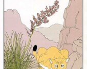 PRINT SALE 20% OFF Vintage 1980's Southwest American Desert Scene  Child's Bookplate Illustration, Print for Framing, Mountain Lion, Nolina