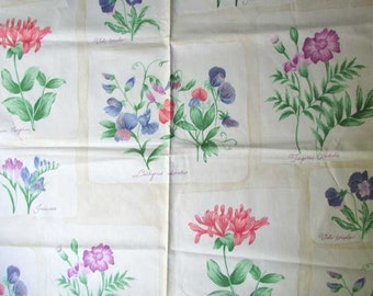 Group of 3  Vintage 1980's Large Home Decor Botanical Theme Fabric Samples for Sewing Projects, Creative Use, Same Design  3 Color Variation