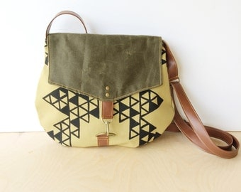 satchel • waxed canvas crossbody bag - geometric print • hand printed khaki canvas - triangle print - olive green waxed canvas • vukani