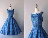 1950s Party Dress / Vintage 50s Dress / 1950s Sapphire Floral Party Dress
