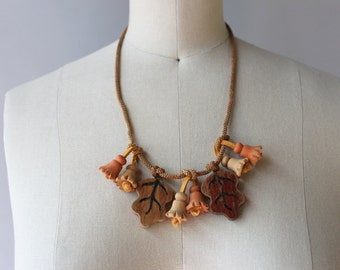 1930s Necklace / Vintage 30s Wooden Novelty Necklace / Bells and Leaves 1930s Wood Necklace