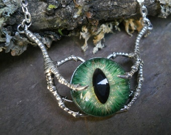 Gothic Steampunk Raven Claw With Green Gold Eye