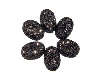 Gunmetal color resin rhinestone cabochons 10x15mm oval 6pcs