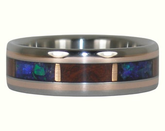 Black Opal Amboyna Wood and Rose Gold Ring