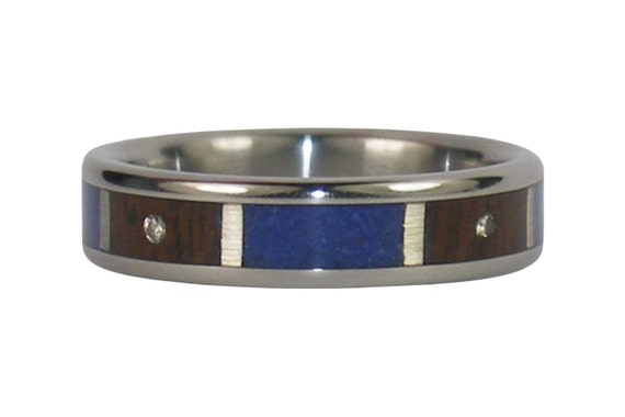 Diamond Lapis and Koa Wood Ring