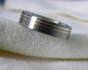 Titanium Ring, Wedding Band, Silver and Yellow Gold Pinstripes