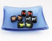 Horse earrings - dichroic fused glass earrings -orange horse - silver horse - gold horse - nickel free post earrings  (1831-4418-4419-4420))