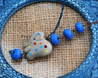 Polka Dot Elephant Necklace, Glass Pendant, Blue Beaded Necklace