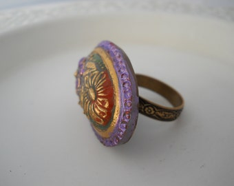Ring Extra Large Glass Button Molded Czech Glass on Adjustable Brass Ring Band Statement Jewelry Bold One of a Kind Ring Embossed Flowers