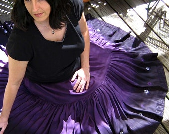 MADE TO ORDER: Two Tier, Full Circle, Silk Skirt with Shibori, Handmade and Dyed