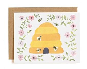 Honey Bee Illustrated Card // 1canoe2