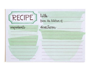 Green Mixing Bowls Recipe Cards Set of 15 // 1canoe2 // hand illustrated