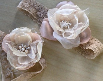 Special price - Matching headband Vintage blush color Handmade Flower, stretchy lace