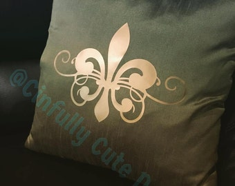 Beautiful Dupioni Silk 18x18 Pillow Cover with Fleur De Lis in Heat Applied Vinyl