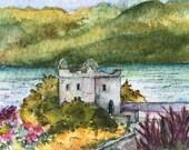 Art Card of Scotland Castle Original Watercolor ACEO Artist Trading Card Original Art