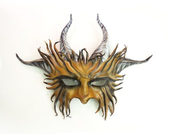 Horned Creature Leather Mask Goat Satyr Pan horns Midsummers Festival Accessories
