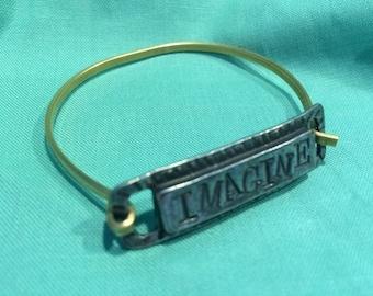 Imagine World Peace brass bracelet