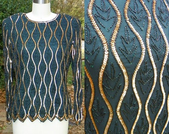 1980s Vintage Emerald and Gold Beaded Blouse Long Sleeves Beaded Leaves Green Silk Beaded Blouse Size Medium