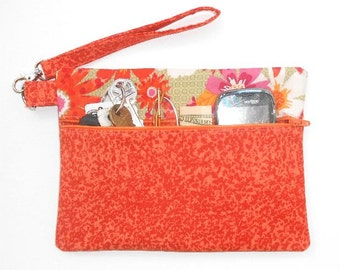 Orange Clutch Wristlet, Floral Camera or Phone Holder, Zippered Womans Wallet, Yellow White Small Purse, Floral Makeup or Gadget Bag