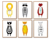 Print Set of 6, Lion, Raccoon, Fox, Wolf, Leopard, Striped possum prints, Any 6 Prints, Animala Illustration, Woodland animals Baby nursery