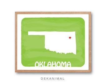 OKLAHOMA Map - silhouette art,State map, Personalized Wedding Gift, Custom map, Watercolor, Typography, Drawing, home decor