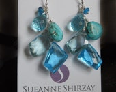 Sparkledom free-form earrings, geometric earrings, boho earrings, quartz and turquoise earrings