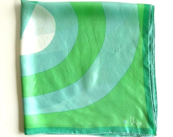 Vintage VERA Ladybug Logo Scarf - Abstract Pattern in Greens and Seafoam - Hand Rolled Hem - Square Scarf