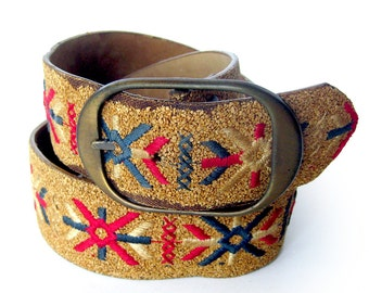 Unique Cork and Leather Vintage BELT with Embroidered Decoration BOHO Style / Size 36