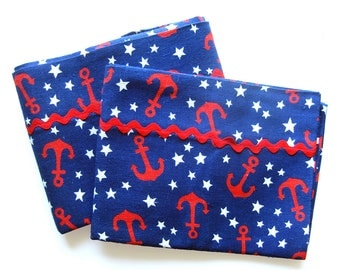 Vintage Nautical Theme Pillow Shams with Anchors and Stars in Red White and Blue - Red Rick Rack Trim / Set of 2