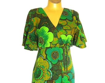 Vintage Hawaiian Dress - Full Length Dress with Flutter Sleeves Greens, Brown and Golds / BJ's Fashions Honolulu