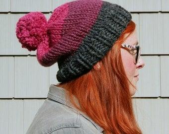 Knit Three-toned Pom Pom Slouchy Beanie Hat - Charcoal, Plum, Raspberry